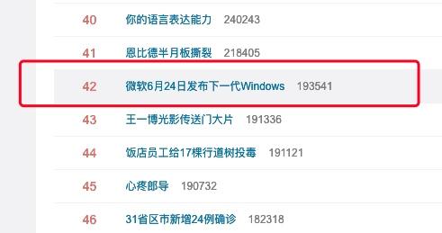 微软6月24日发布下一代Windows上热搜网友来抢鸿蒙风头的吧